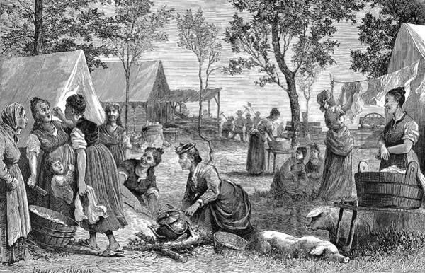Clothesline Painting - Emigrants Arkansas, 1874 by Granger
