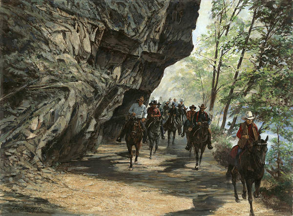 Wall Art - Painting - Eminence Trail Ride by Don  Langeneckert