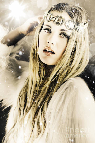 Headband Photograph - Enchanting Snow Princess by Jorgo Photography - Wall Art Gallery