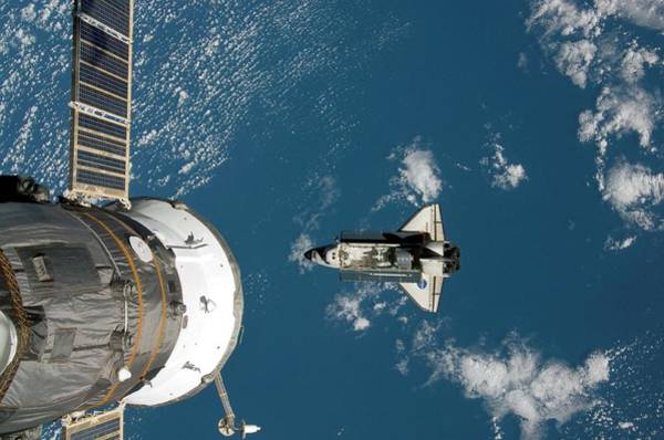 International Space Station Photograph - Endeavour Approaching The Iss by Nasa/science Photo Library