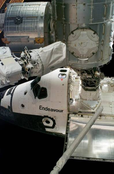 Endeavour Photograph - Endeavour Docked To The Iss by Nasa/science Photo Library