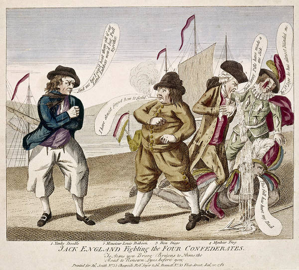 Political Cartoon Painting - England's War, 1781 by Granger