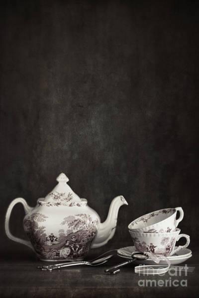 Photograph - English Tea Cups And Tea Pot On Shelf  by Sandra Cunningham