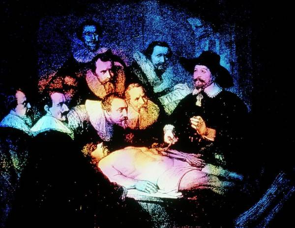 Lessons Photograph - Engraving Of The Anatomy Lesson After Rembrandt by Mehau Kulyk/science Photo Library