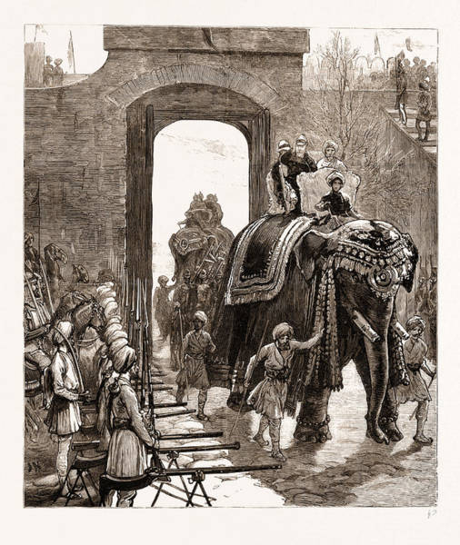 Entry Drawing - Entry Of The Prince Of Wales Into Jammu With The Maharajah by Litz Collection