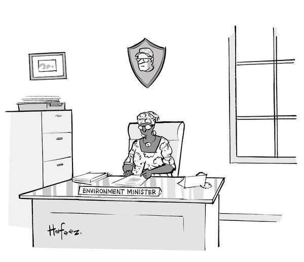 Writing Desk Drawing - Environment Minister by Kaamran Hafeez