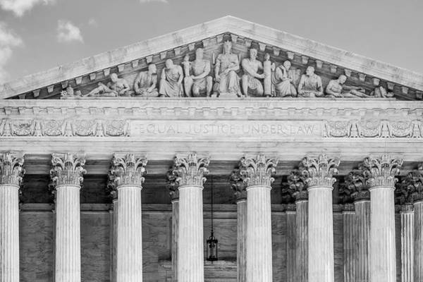 Photograph - Equal Justice Under Law Bw by Susan Candelario