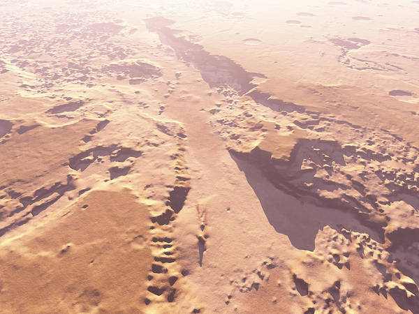 Martian Wall Art - Photograph - Eroded Martian Landscape by Kees Veenenbos/science Photo Library