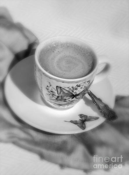 Wall Art - Photograph - Espresso In Butterfly Cup In Black And White by Iris Richardson