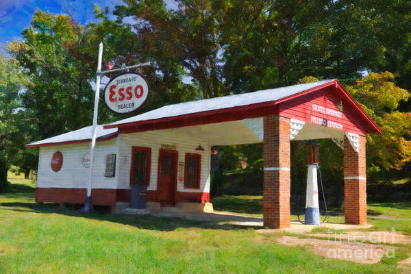 Digital Art - Esso Station by Dale Powell
