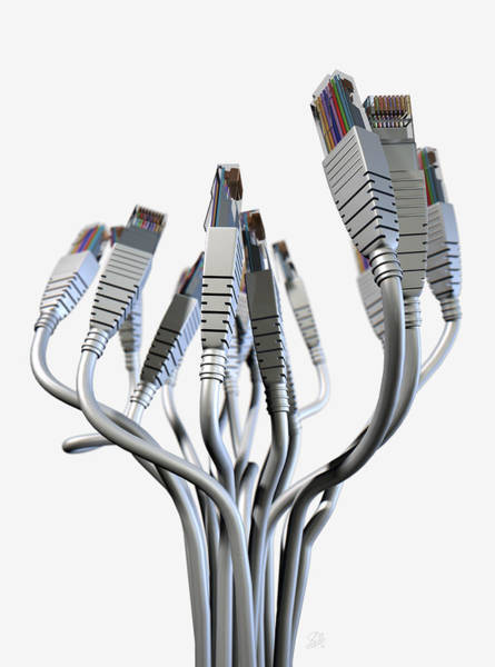 Cable Digital Art - Ethernet Abstract Bouquet by Allan Swart