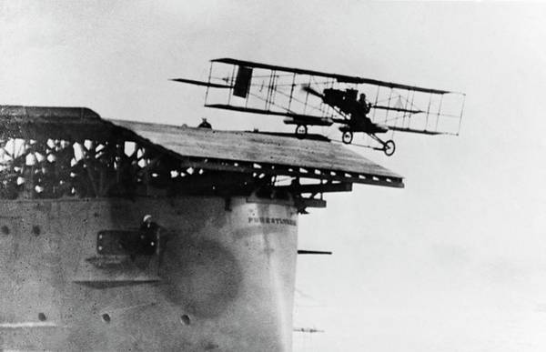 Flight Deck Photograph - Eugene Ely Taking Off From Uss Pennsylvania by Us Navy/science Photo Library