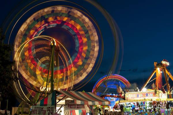 Fair Ground Photograph - Evergreen State Fair And Ferris Wheel by Jim Corwin