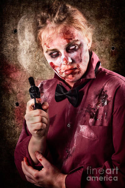 Photograph - Evil Demented Zombie Holding Hand Gun. Robbery by Jorgo Photography - Wall Art Gallery