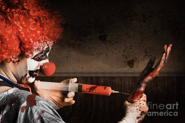 Photograph - Evil Healthcare Clown Holding Needle And Syringe by Jorgo Photography - Wall Art Gallery