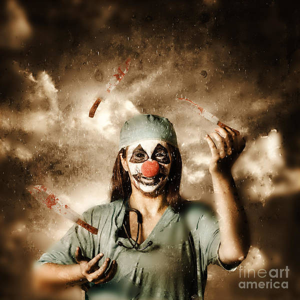 Photograph - Evil Surgeon Clown Juggling Bloody Knives Outside by Jorgo Photography - Wall Art Gallery
