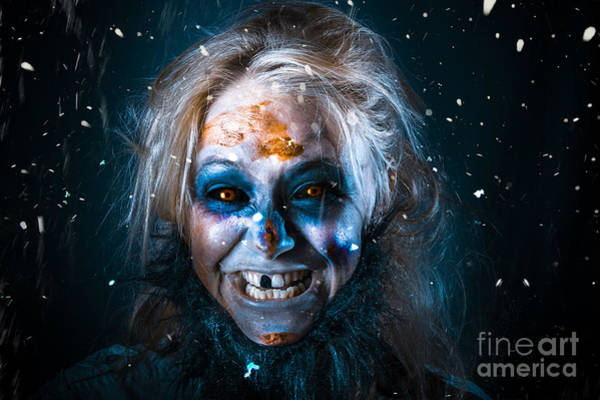 Flake Photograph - Evil Winter Monster Smiling Beneath Falling Snow by Jorgo Photography - Wall Art Gallery