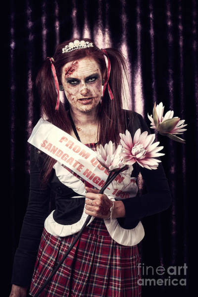 Undead Wall Art - Photograph - Evil Zombie Prom Queen Holding Flowers On Stage by Jorgo Photography - Wall Art Gallery