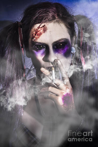 Smoke Fantasy Wall Art - Photograph - Evil Zombie Schoolgirl Smoking Cigarette by Jorgo Photography - Wall Art Gallery