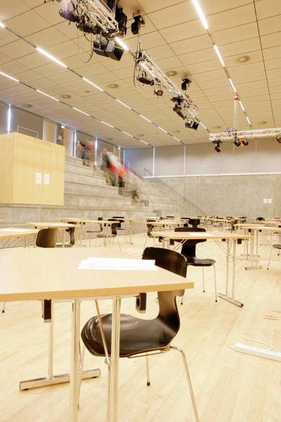 Lighting Equipment Photograph - Examination Hall At A School by Gustoimages/science Photo Library