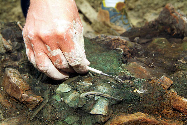 Wall Art - Photograph - Excavation Of An Iron Age Tomb by Marco Ansaloni / Science Photo Library
