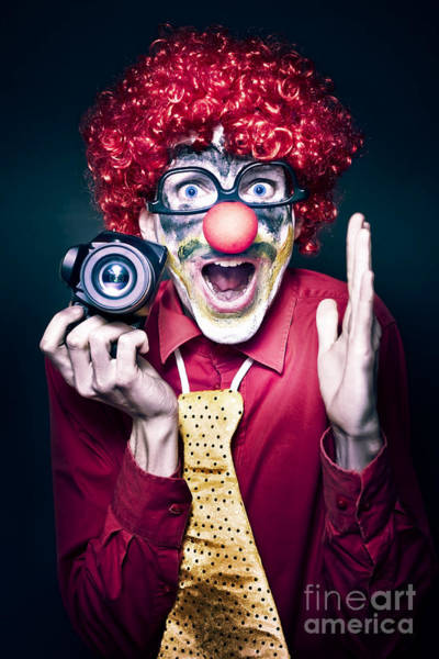 Photograph - Excited Clown With Camera At Kids Birthday Party by Jorgo Photography - Wall Art Gallery