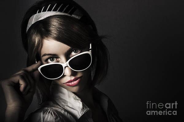 Photograph - Face Of Dark Retro Fashion. Female Pin-up Beauty by Jorgo Photography - Wall Art Gallery