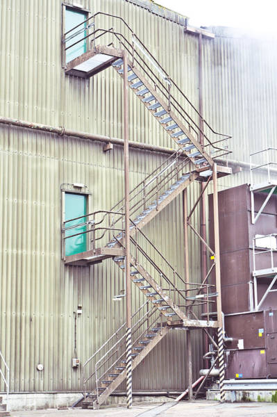 Cooling Tower Photograph - Factory Steps by Tom Gowanlock