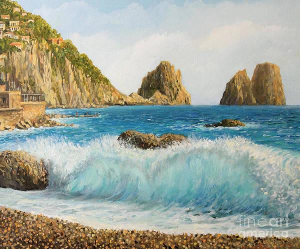 Wall Art - Painting - Faraglioni On Island Capri by Kiril Stanchev