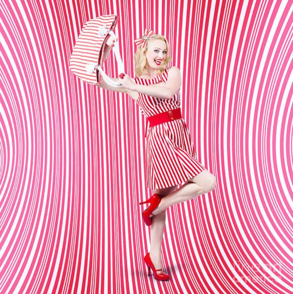 Dress Shop Photograph - Fashion Shopping Woman. Stylish Retro Design by Jorgo Photography - Wall Art Gallery