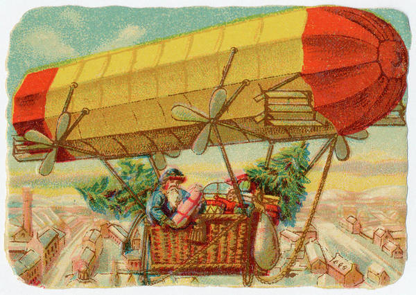 Wall Art - Drawing - Father Christmas In A  Propelled by Mary Evans Picture Library