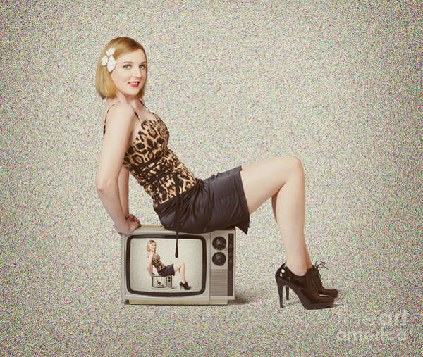 Wall Art - Photograph - Female Television Show Actress On Old Tv Set by Jorgo Photography - Wall Art Gallery