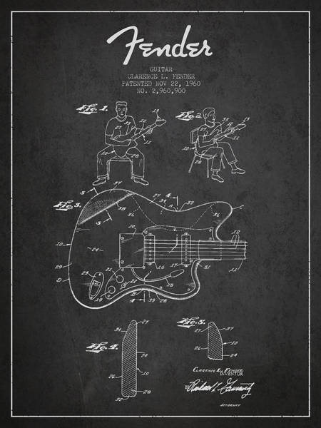 Wall Art - Digital Art - Fender Guitar Patent Drawing From 1960 by Aged Pixel
