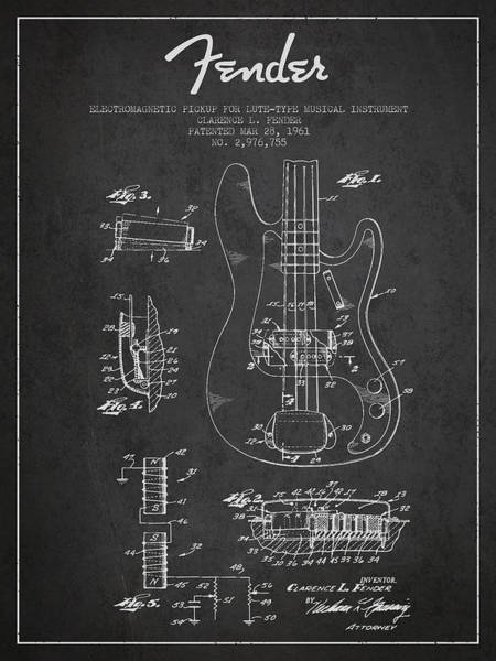 Bass Guitar Digital Art - Fender Guitar Patent Drawing From 1961 by Aged Pixel