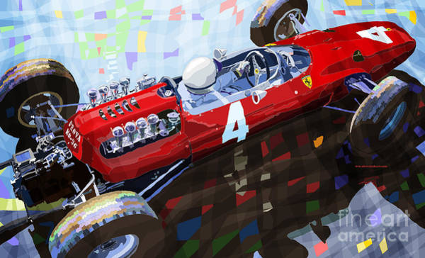 Ferrari Wall Art - Mixed Media - 1965 British Grand Prix Silverstone  Lorenzo Bandini Ferrari 158 by Yuriy Shevchuk