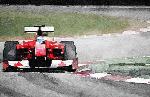 Ferrari Wall Art - Painting - Ferrari F1 Race Watercolor by Naxart Studio