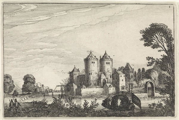 Wall Art - Drawing - Figures In A Canoe In A Castle, Jan Van De Velde II by Jan Van De Velde (ii)