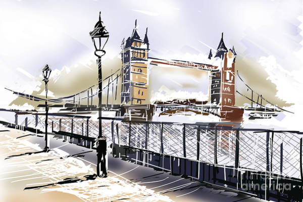 Photograph - Fine Art Drawing The Tower Bridge In London Uk by Jorgo Photography - Wall Art Gallery