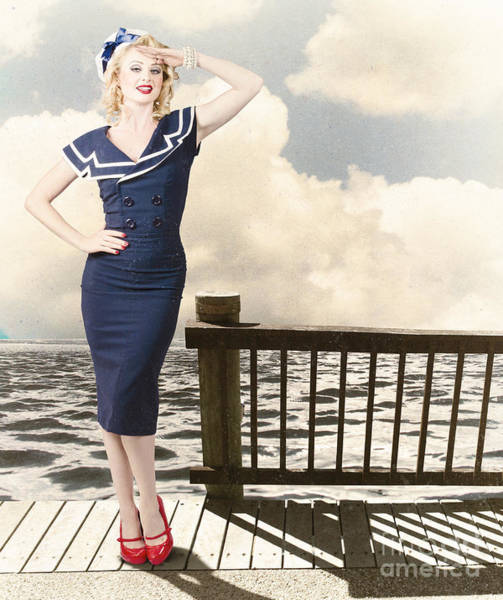 Photograph - Fine Art Vintage Pin-up. Vacation Departure Dock by Jorgo Photography - Wall Art Gallery