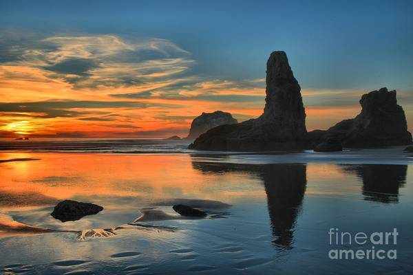 Photograph - Fire Over The Sea Stacks by Adam Jewell