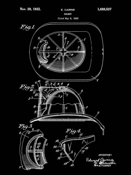 Serve Digital Art - Firefighter's Helmet Patent 1932 - Black by Stephen Younts