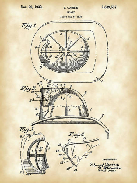 Serve Digital Art - Firefighter's Helmet Patent 1932 - Vintage by Stephen Younts