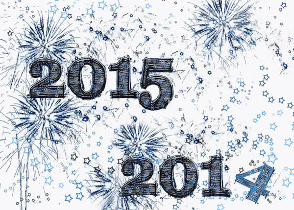 Wall Art - Digital Art - Fireworks And Stars Happy New Year 2015 by Marianne Campolongo