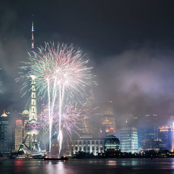 Multi Exposure Photograph - Fireworks On Pudong, Shanghai, China by Matteo Colombo
