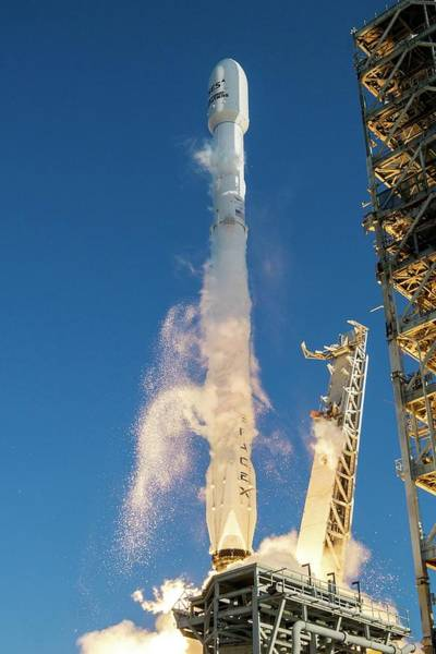 Center Stage Photograph - First Spacex Rocket Reuse by Spacex/science Photo Library