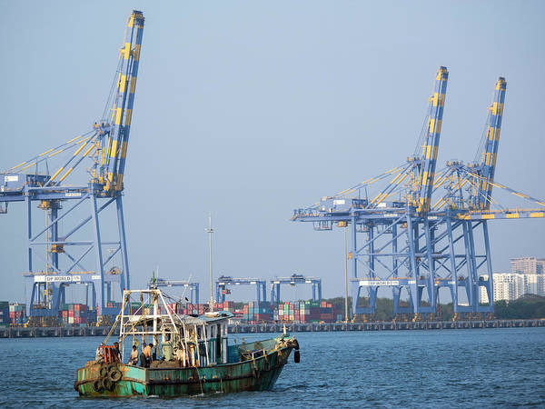 Cargo Containers Wall Art - Photograph - Fishing Boat And Crane At Cochin by David H. Wells