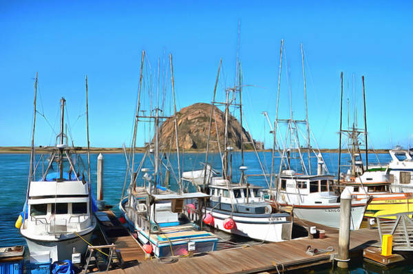Morro Bay Painting - Fishing Fleet In Front Of Morro Rock Digital Painting by Barbara Snyder