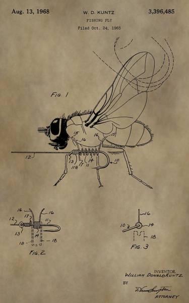 Fishing Pole Digital Art - Fishing Fly Patent by Dan Sproul