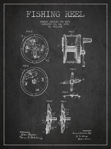 Antique Fishing Lures Wall Art - Drawing - Fishing Reel Patent From 1896 by Aged Pixel