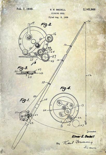 Fishing Nets Photograph - Fishing Reel Patent 1939 by Jon Neidert